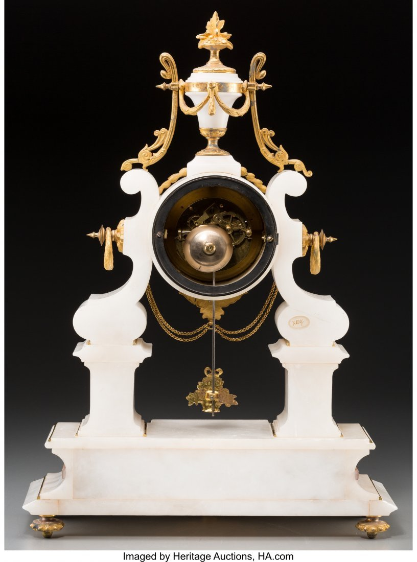 61560: A Louis XVI-Style Gilt Bronze and Marble Clock w - 2