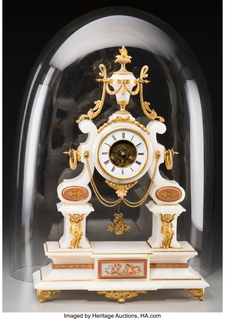 61560: A Louis XVI-Style Gilt Bronze and Marble Clock w - 3