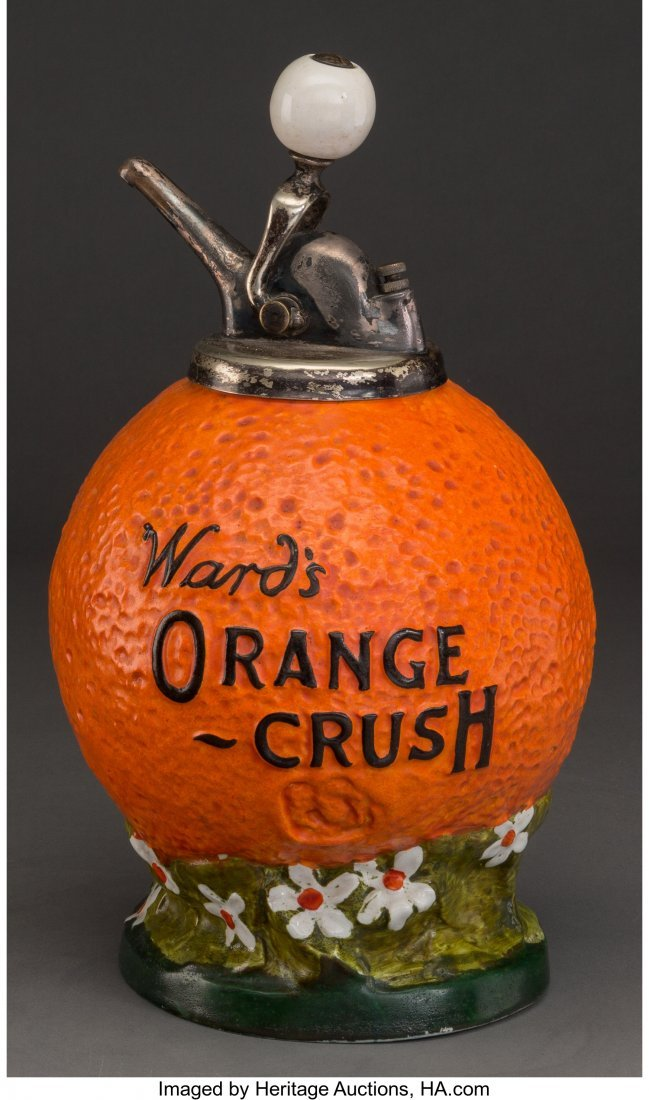61710: A Ward's Orange Crush Ceramic Syrup Dispenser, c - 2