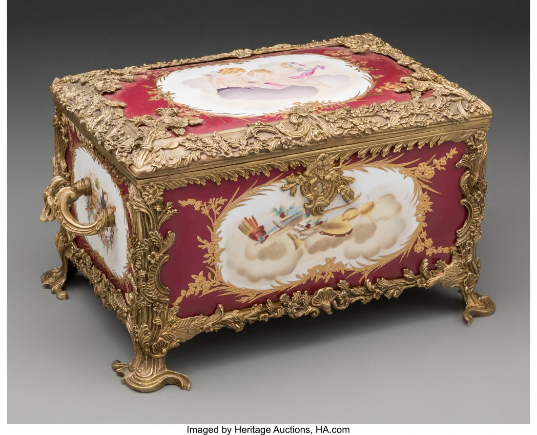 61562: A Sevres-Style Porcelain and Bronze Table Casket