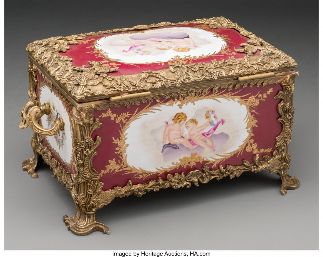 61562: A Sevres-Style Porcelain and Bronze Table Casket - 2