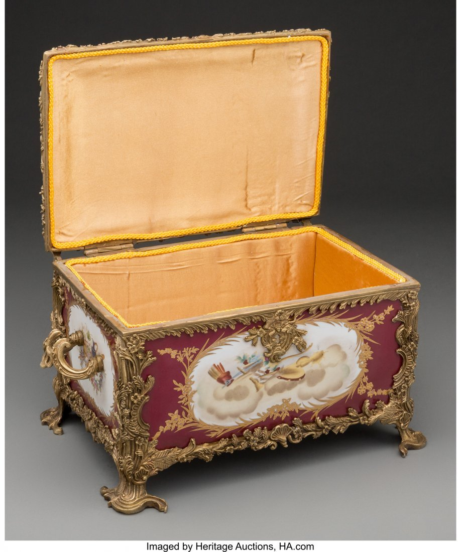 61562: A Sevres-Style Porcelain and Bronze Table Casket - 3
