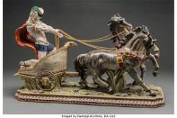 61567 A Large Dresden Porcelain Figural Group Chariot