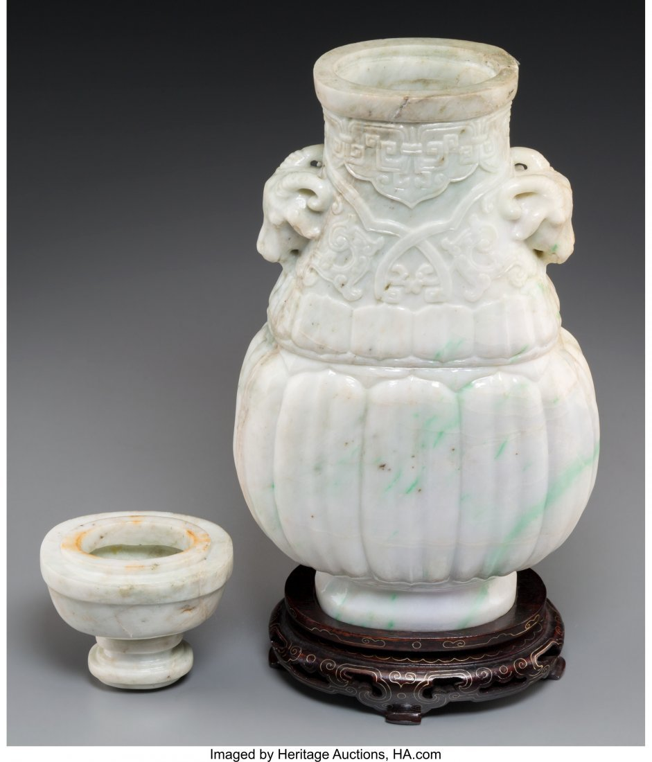 61800: A Large Chinese Carved Jadeite Covered Hu-Form V - 2