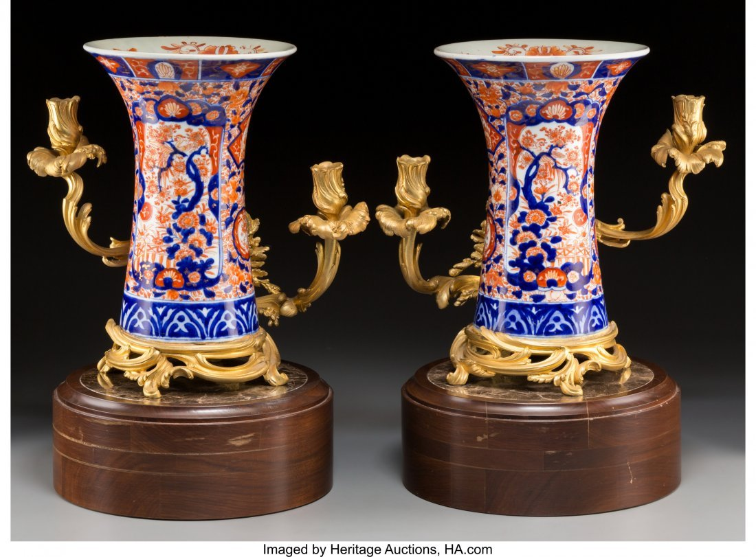 61572: A Pair of Gilt Bronze-Mounted Imari Porcelain Va