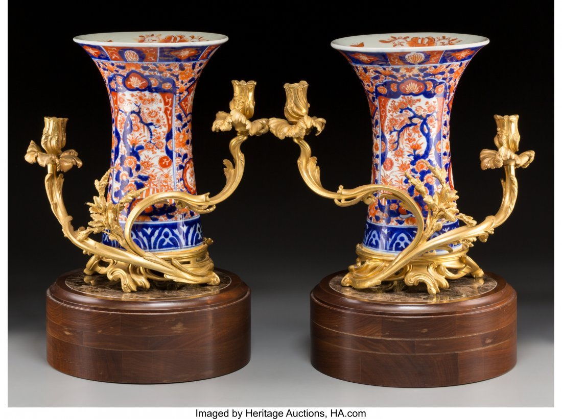 61572: A Pair of Gilt Bronze-Mounted Imari Porcelain Va - 2