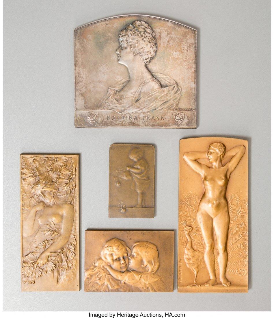 61722: Five Art Nouveau Bronze and Silver Plaques, late