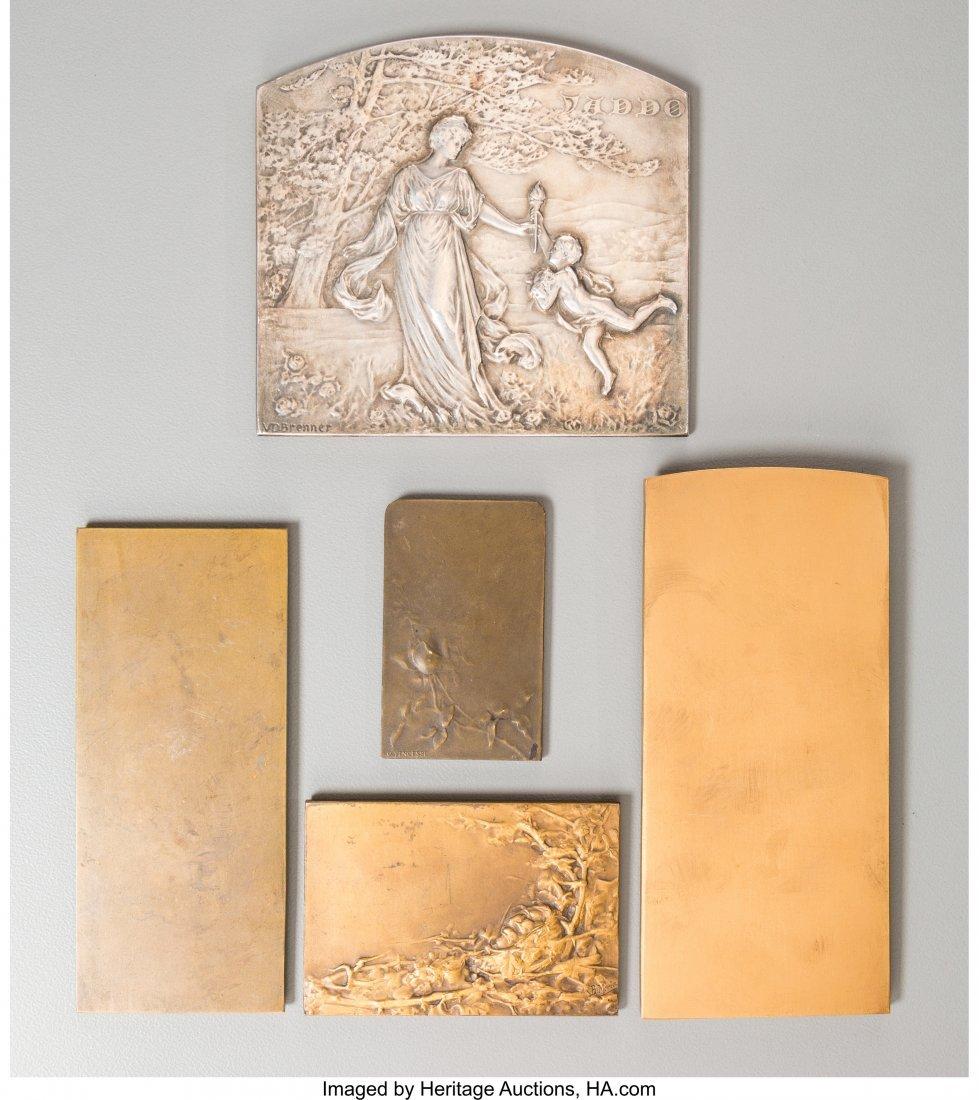 61722: Five Art Nouveau Bronze and Silver Plaques, late - 2