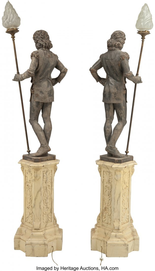 61727: A Large Pair of Carved and Polychromed Wood Figu - 2