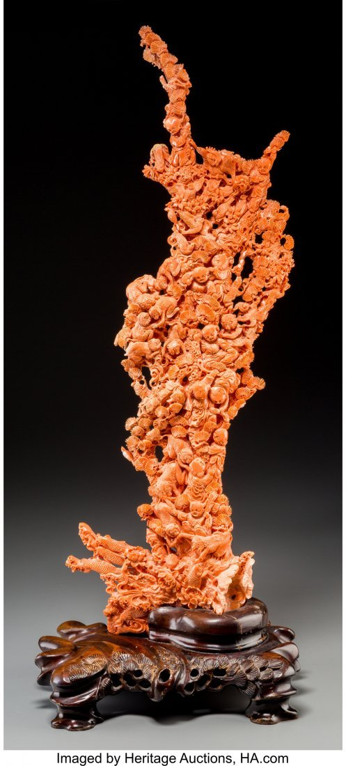 61809: A Large Chinese Carved Coral Group, 20th century