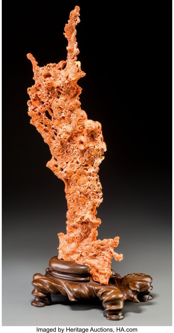 61809: A Large Chinese Carved Coral Group, 20th century - 2