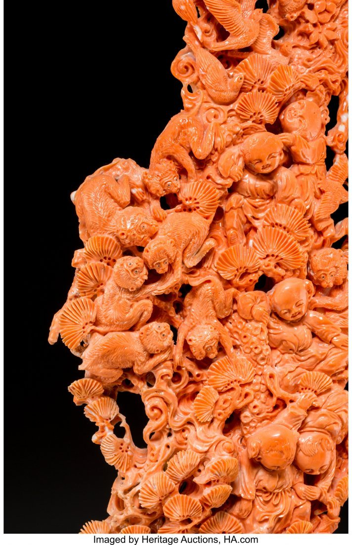 61809: A Large Chinese Carved Coral Group, 20th century - 3