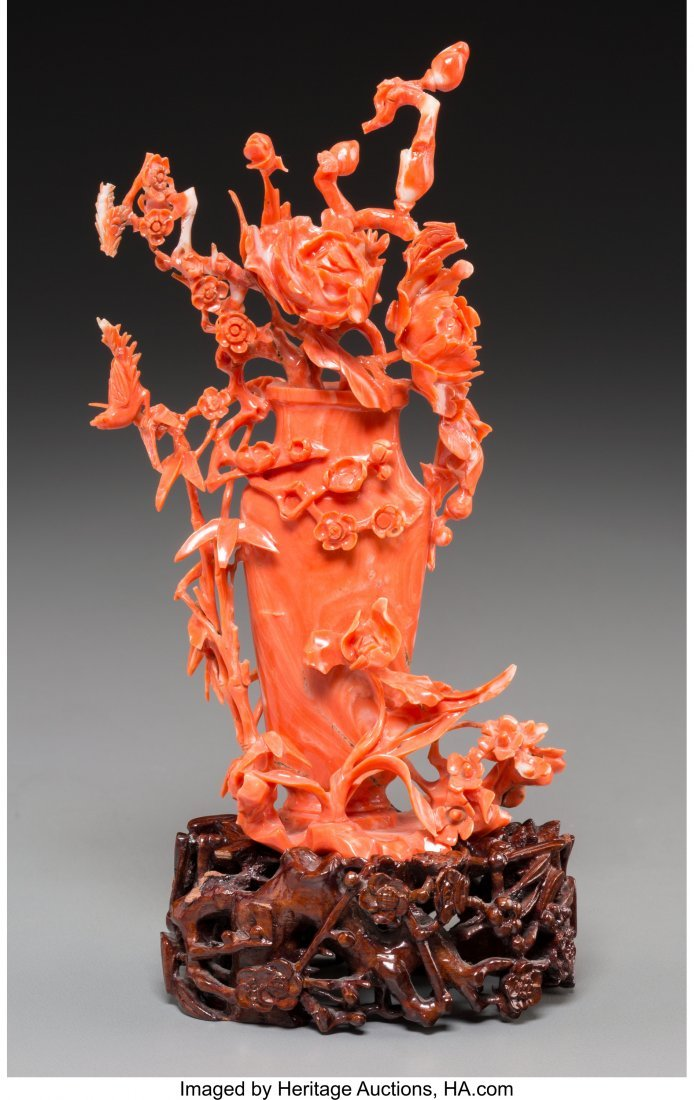 61811: A Chinese Carved Coral Group of a Flower Vase 6-