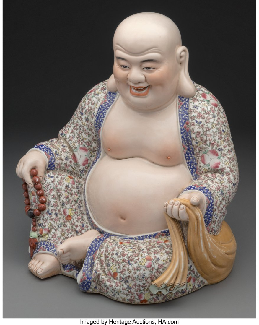 61817: A Chinese Enameled Porcelain Figure of a Seated