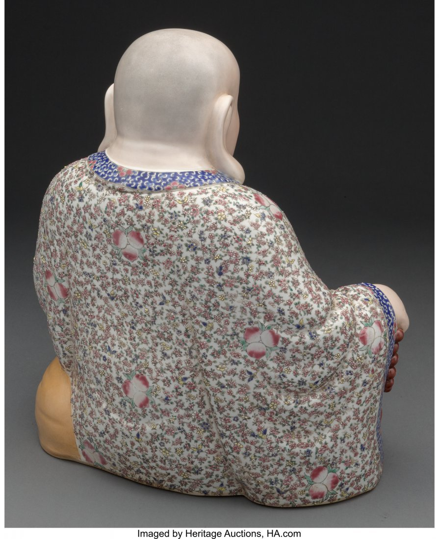 61817: A Chinese Enameled Porcelain Figure of a Seated  - 2