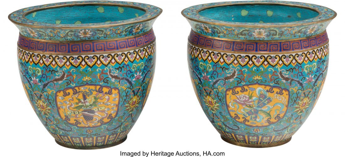 61823: A Pair of Chinese Cloisonné Fishbowl Planters 1