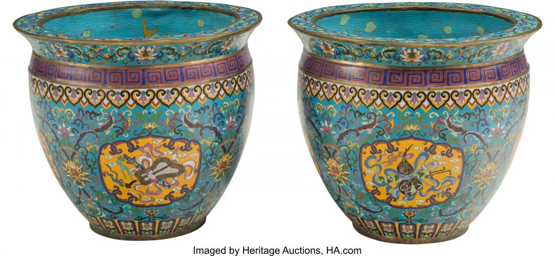 61823: A Pair of Chinese Cloisonné Fishbowl Planters 1 - 2