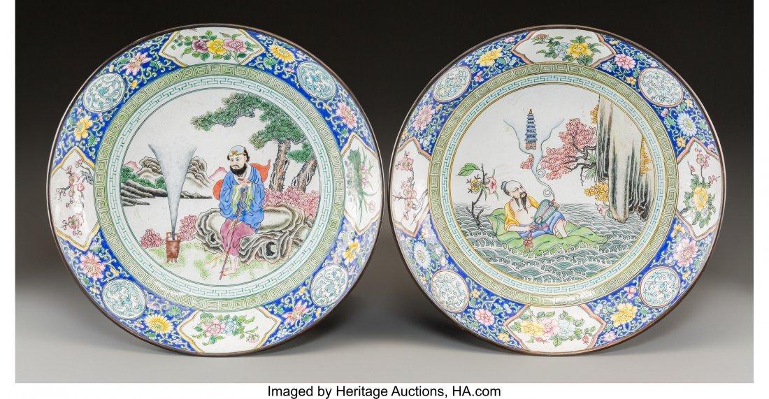 61824: A Pair of Chinese Peking Enameled Plates 2-1/2 i
