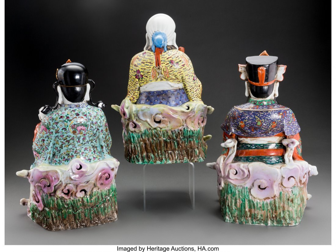 61826: Three Chinese Enameled Porcelain Seated Scholar  - 2