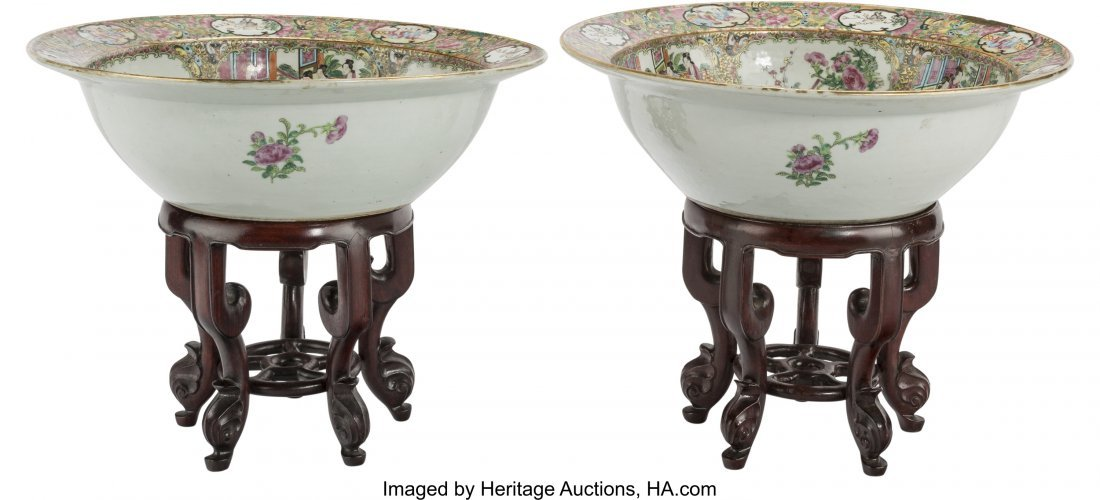 61829: A Pair of Chinese Export Rose Medallion Porcelai