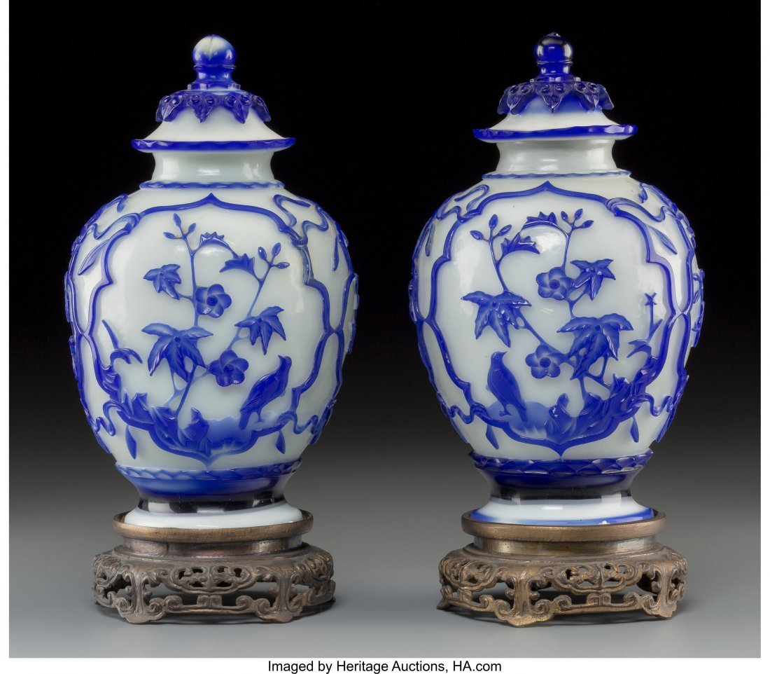61838: A Pair of Chinese Blue and White Peking Glass Co