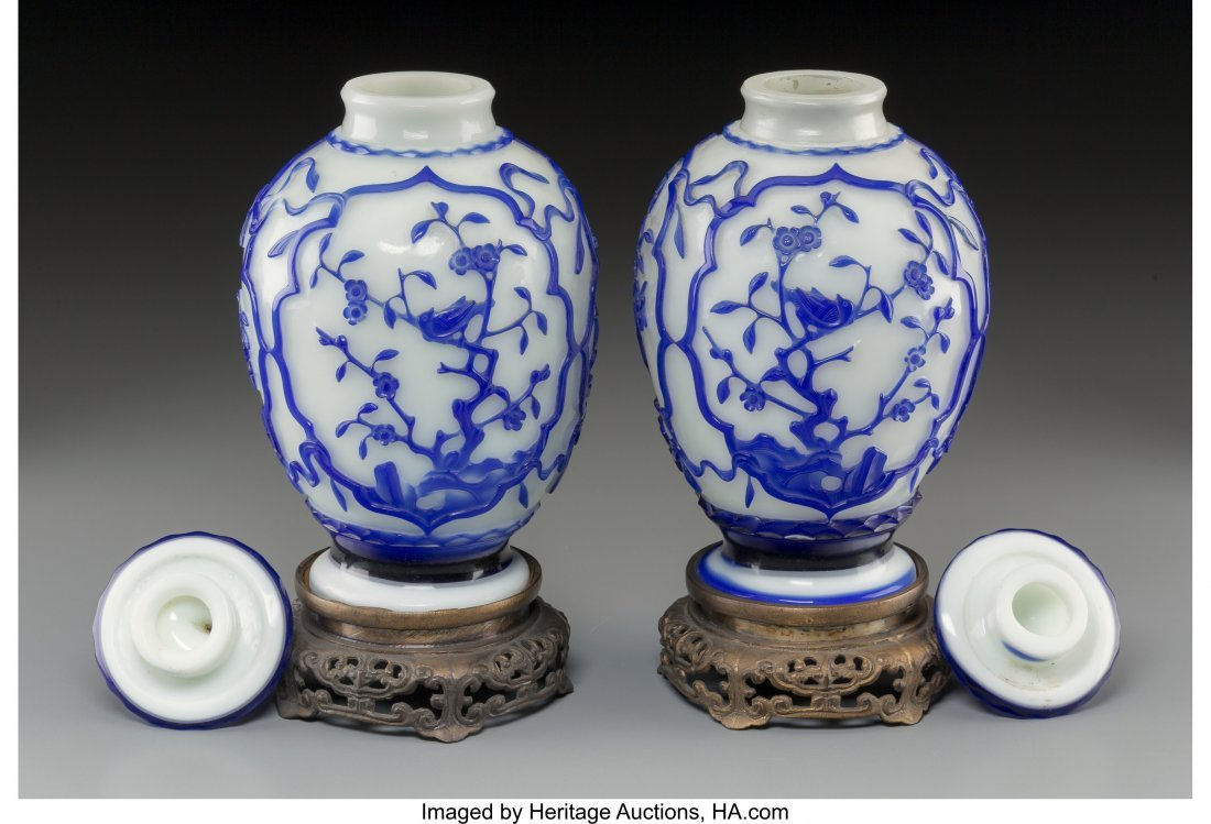 61838: A Pair of Chinese Blue and White Peking Glass Co - 2