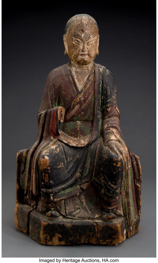 61847: A Chinese Carved and Polychromed Wood Seated Bud