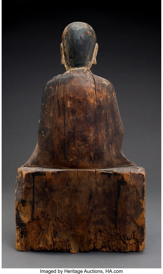 61847: A Chinese Carved and Polychromed Wood Seated Bud - 2