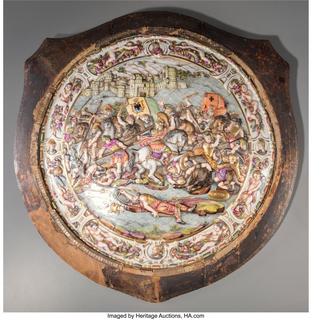 61858: A Large Capodimonte Porcelain Plaque Depicting a