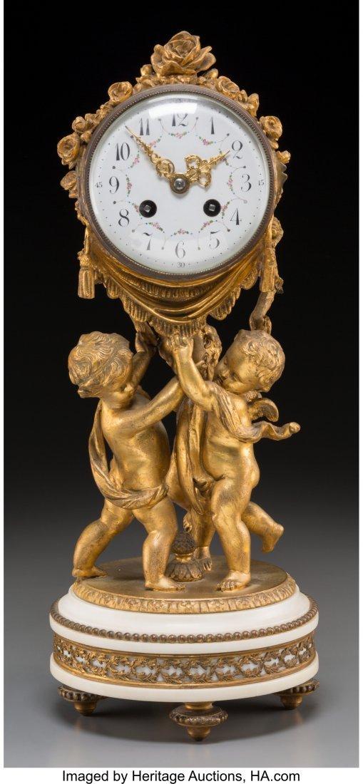 61879: A Louis XVI-Style Gilt Bronze Figural Mantel Clo