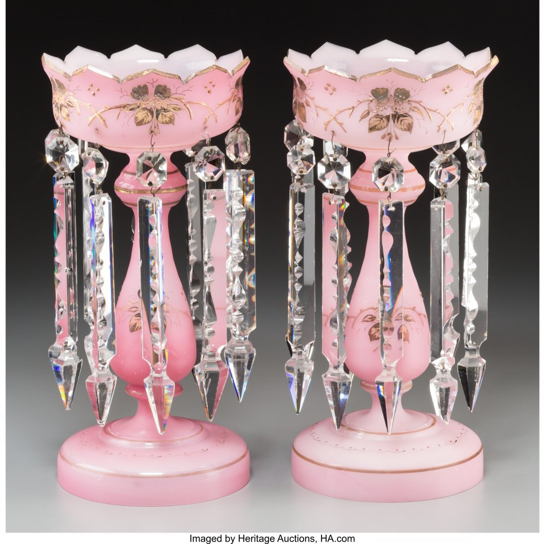 61891: A Pair of French Pink Opaline Glass Lusters, lat