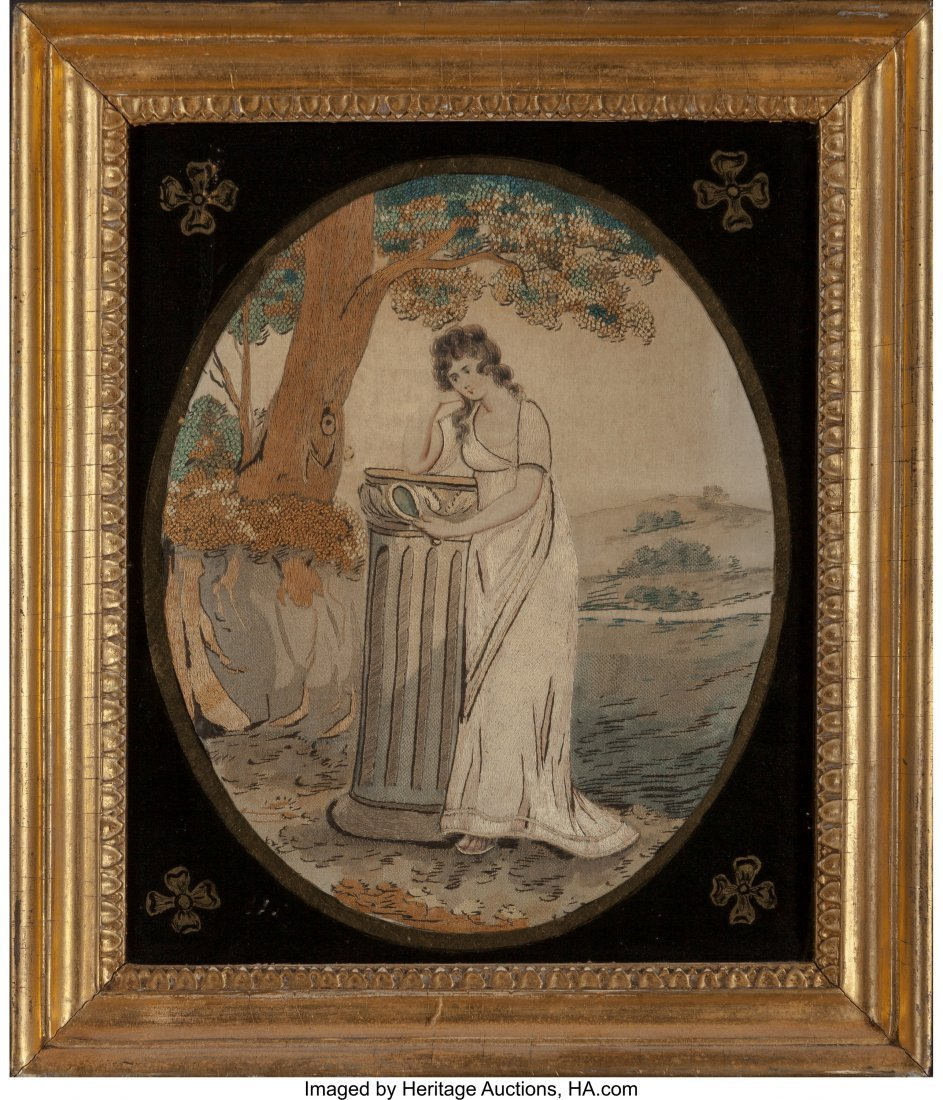 61957: A Framed Victorian Silk-Embroidered Mourning Pic - 2