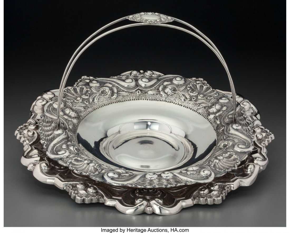 61965: A Portuguese Silver Basket and Salver, Porto, Po