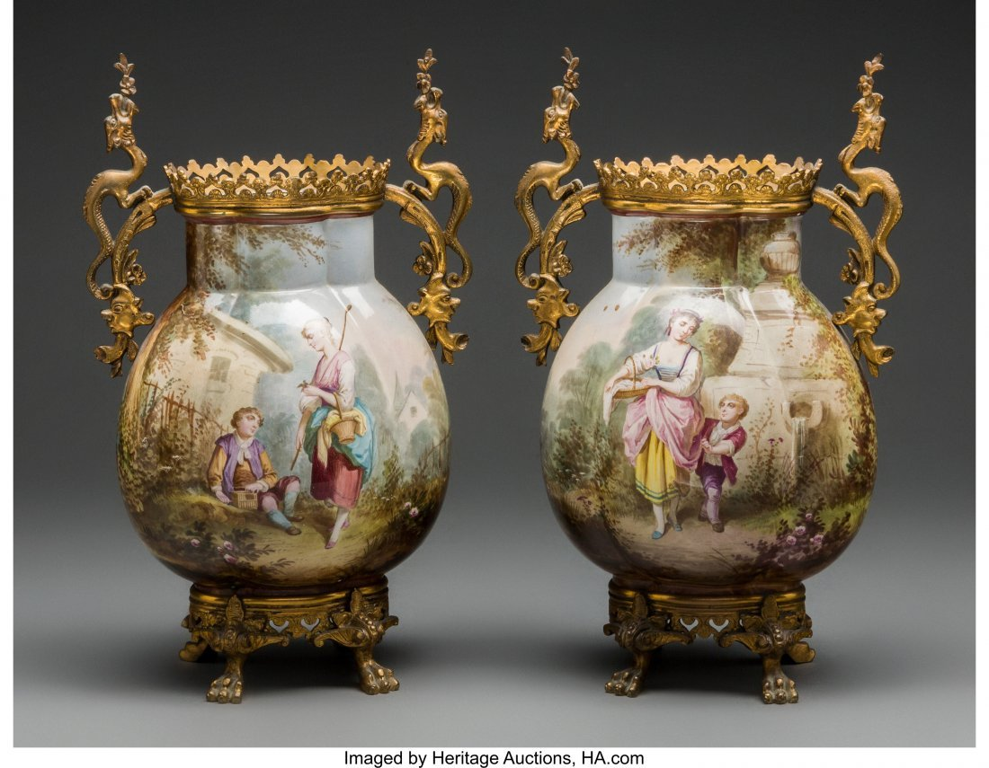 61970: A Pair of French Ceramic and Gilt Bronze Vases,