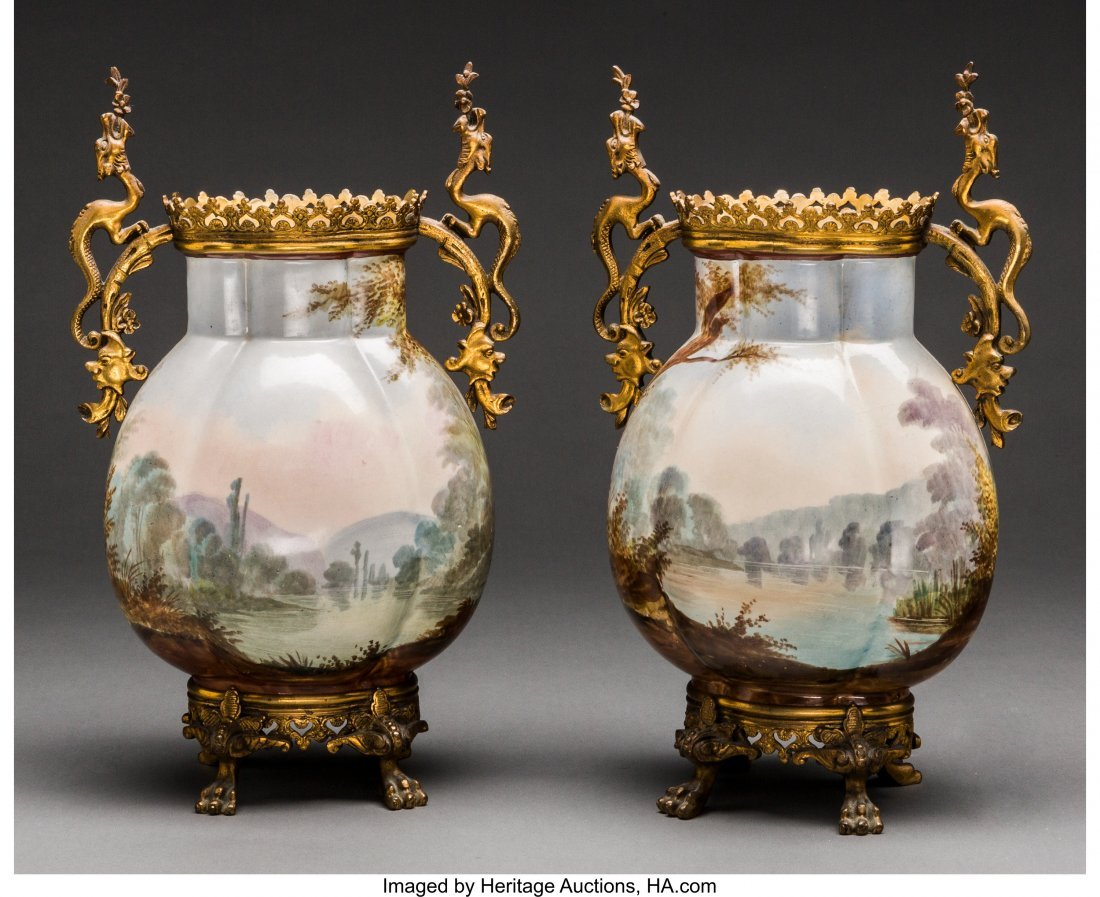 61970: A Pair of French Ceramic and Gilt Bronze Vases, - 2