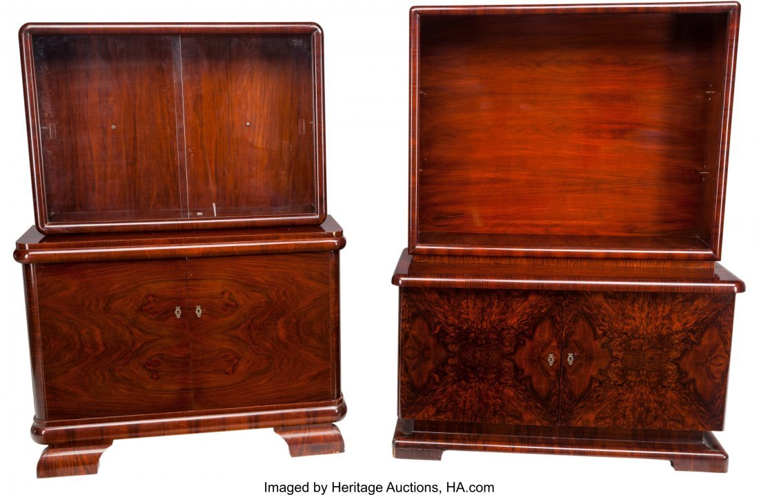 62050: Two German Art Deco Rosewood Glazed Bookcase Cab