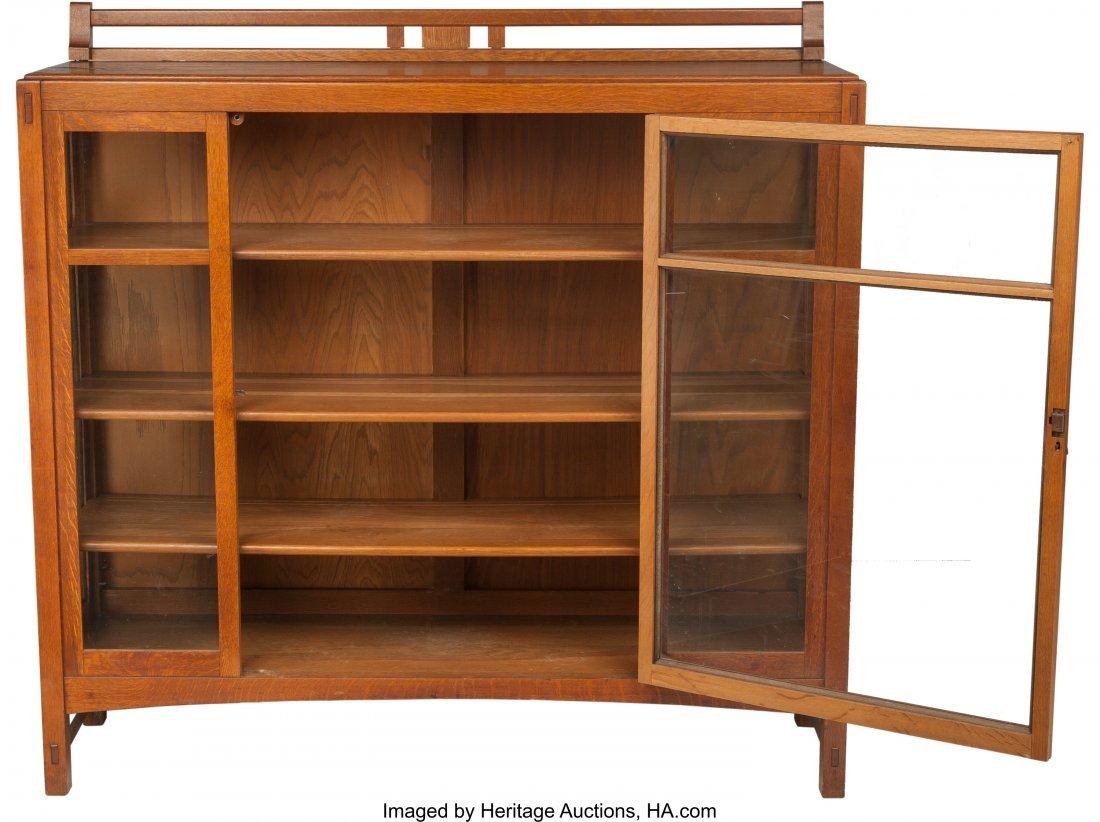 61982: A Limbert Arts & Crafts Oak and Glazed China Cab - 3