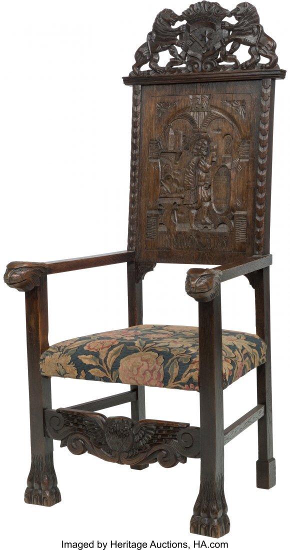 62060: A Renaissance Revival Carved Oak Armchair, 19th