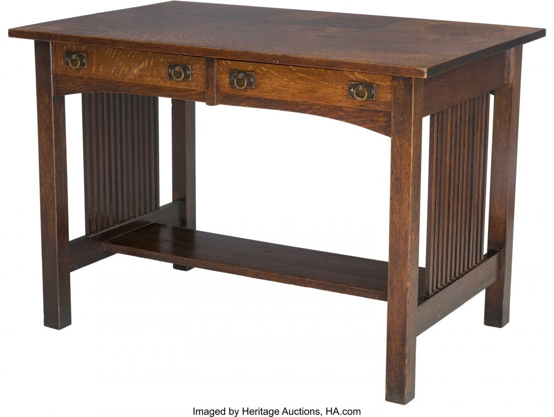 61985: An American Arts & Crafts Oak Two Drawer Table 2