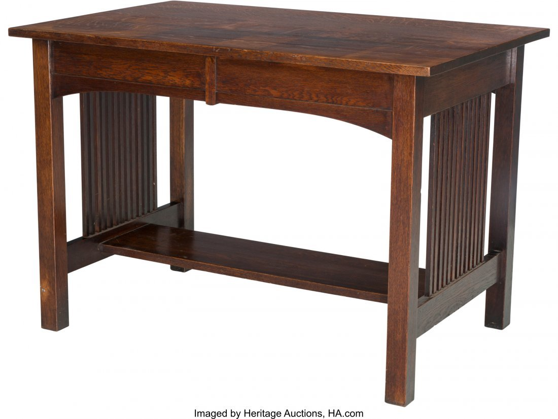 61985: An American Arts & Crafts Oak Two Drawer Table 2 - 2