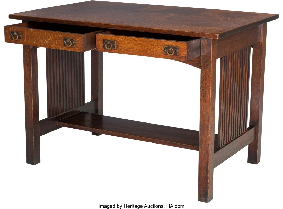 61985: An American Arts & Crafts Oak Two Drawer Table 2 - 3