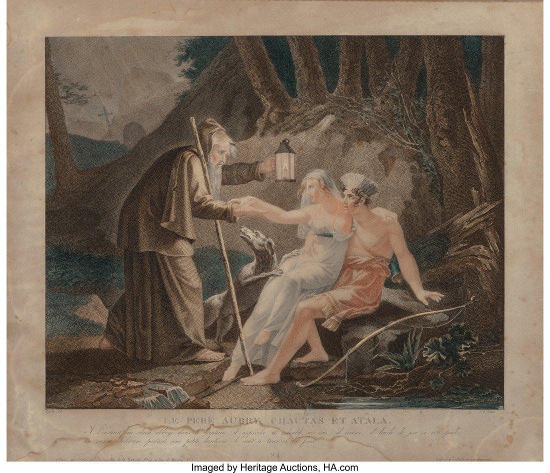 61990: J.P. Simon Gravure Print, Le Pere Aubry, Chactas