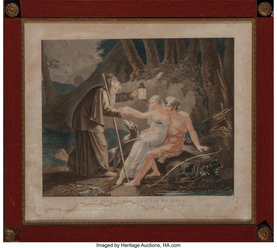 61990: J.P. Simon Gravure Print, Le Pere Aubry, Chactas - 2