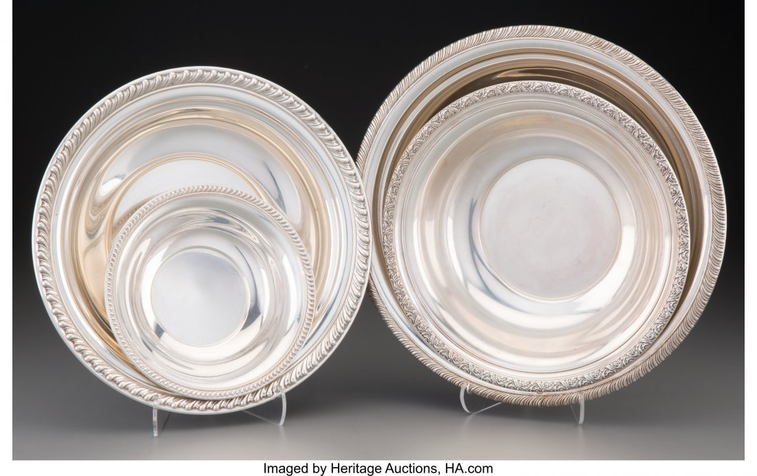 61929: Four American Silver Bowls, mid-20th century Var