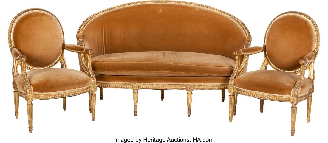 62084: Three Piece Louis XVI-Style Upholstered Giltwood