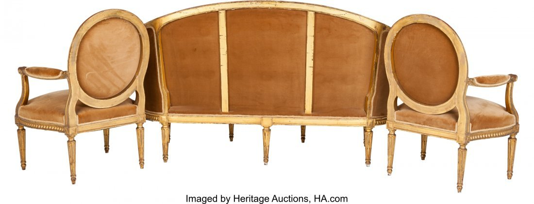 62084: Three Piece Louis XVI-Style Upholstered Giltwood - 2