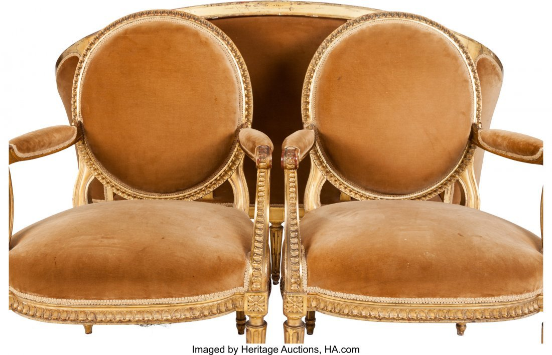 62084: Three Piece Louis XVI-Style Upholstered Giltwood - 3