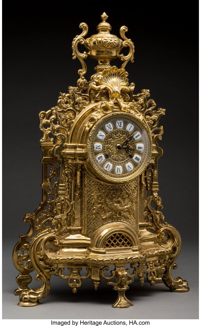 62086: A Lancini Italian Gilt Bronze Mantel Clock Marks