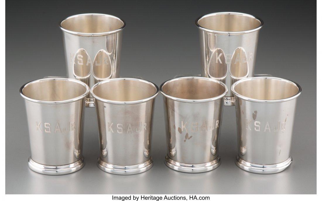 61935: Six Silver Mint Julep Cups, mid-20th century Mar