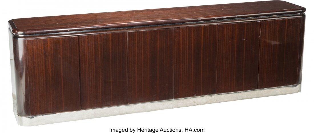 62089: A Large Art Deco Mahogany and Chrome Credenza, l